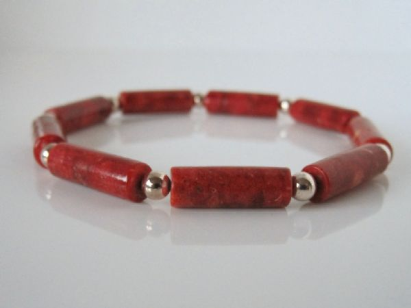 Red Tube Beads & Sterling Silver Bracelet | Silver Sensations
